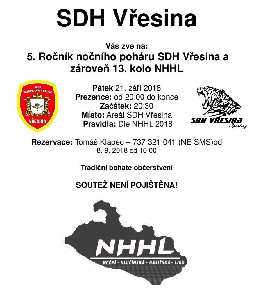 5. Ročník nočního poháru SDH Vřesina